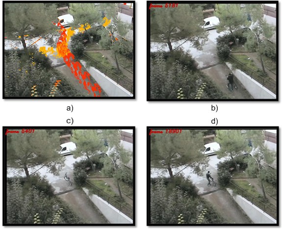 Screenshots representing: a) the image representing the bike thieft; b) the bike owner that lives the bike; c) the bike alone; d) the thieft that stole the bike.